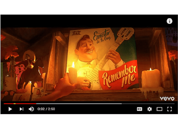 """A screenshot of a YouTube video from the Disney movie """"Coco"""""""