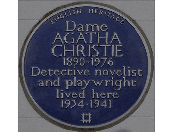 Photo: a plaque for Agatha Christie at 58 Sheffield Terrace, Holland Park, London, England. Credit: Edwardx; Wikimedia Commons.