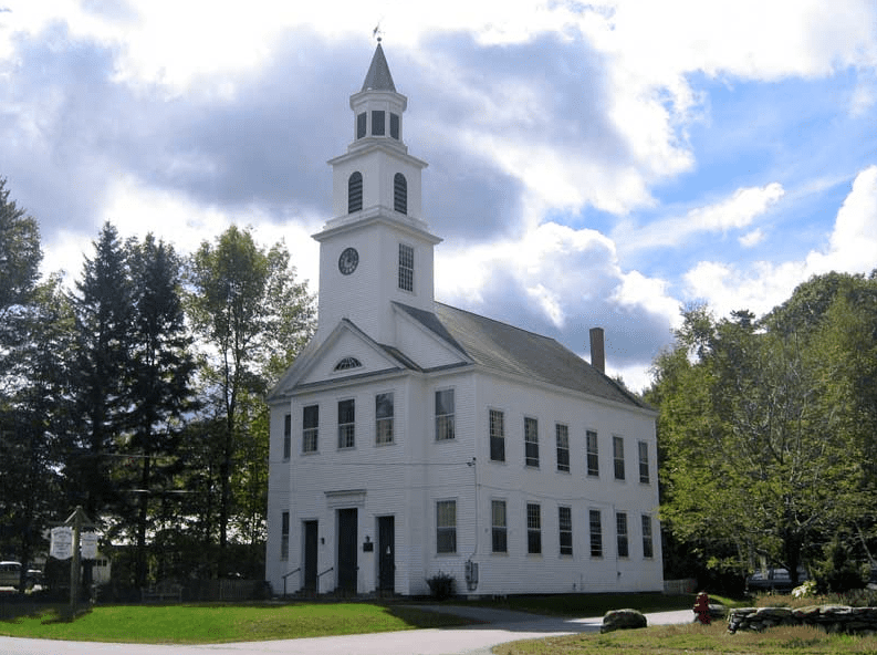 Photo: the Meeting House Congregational Church on South Road in Marlboro, Vermont