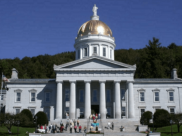 Photo: the gold leaf dome of the neoclassical Vermont State House (Capitol) in Montpelier, Vermont. Credit: Matthew Trump; Wikimedia Commons.