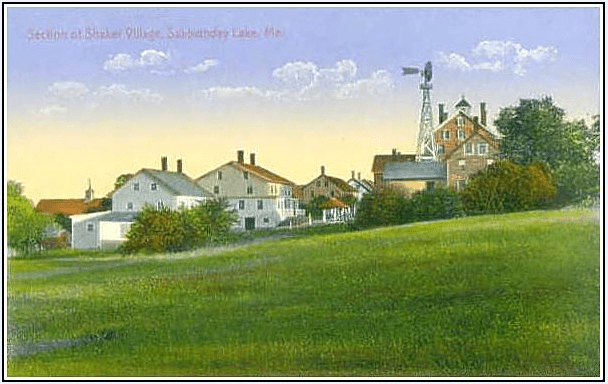 Photo: section of Shaker Village, Sabbathday Lake, Maine, from an old postcard