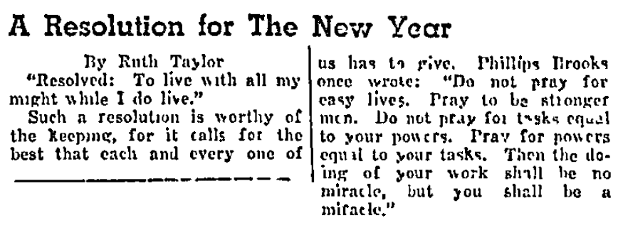 An article about New Year's resolutions, Plaindealer newspaper article 1 January 1943