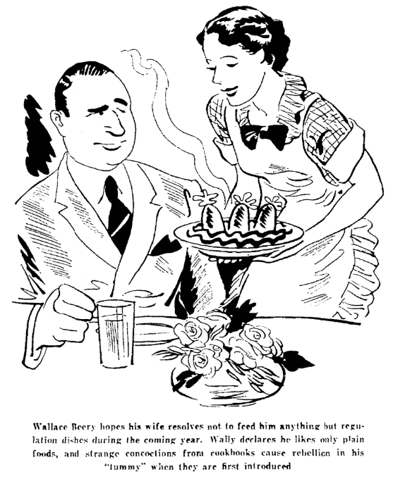 A cartoon about Wallace Beery's resolution, Seattle Daily Times newspaper article 29 December 1935