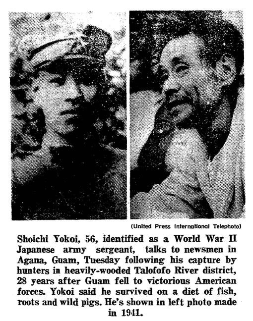 Photo from an article about Japanese Imperial Army Sergeant Shouichi Yokoi, Springfield Union newspaper article 26 January 1972