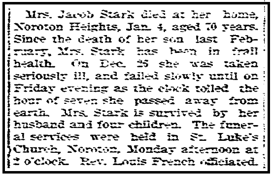 An obituary for Mary Stark, Stamford Advocate newspaper article 10 January 1901