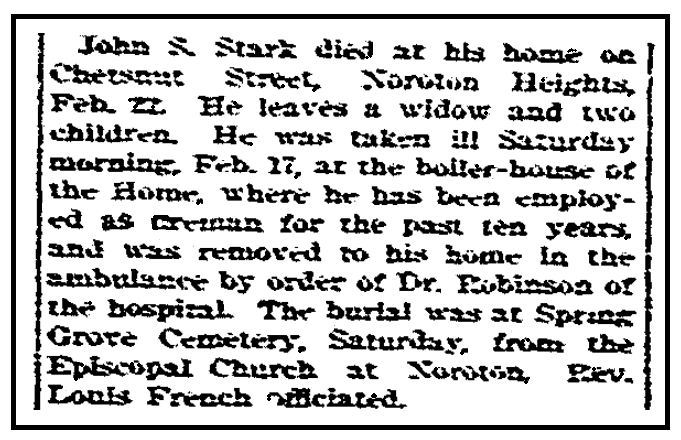 An obituary for John Stark, Stamford Advocate newspaper article 1 March 1900