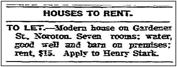 A real estate ad, Stamford Advocate newspaepr advertisement 12 May 1904