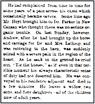 An obituary for Andrew Stark, Stamford Advocate newspaper article 7 September 1883