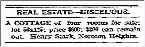 A real estate ad, Stamford Advocate newspaper advertisement 8 November 1900