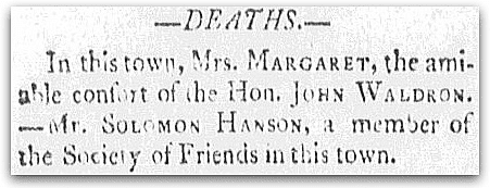 An obituary for Solomon Hanson, Sun newspaper article 5 October 1805
