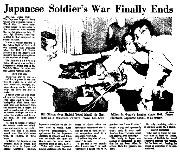 An article about Japanese Imperial Army Sergeant Shouichi Yokoi,