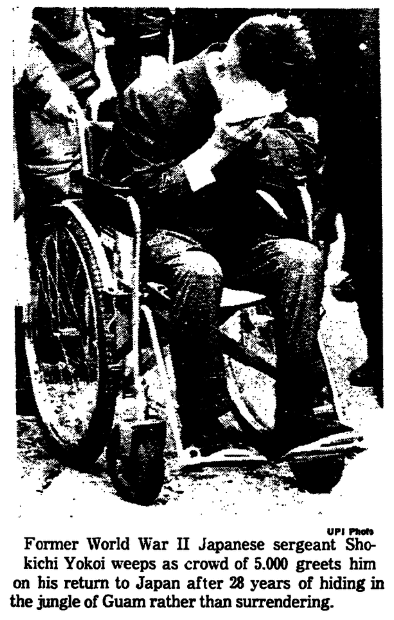 A photo from an article about Japanese Imperial Army Sergeant Shouichi Yokoi, Trenton Evening Times newspaper article 2 February 1972