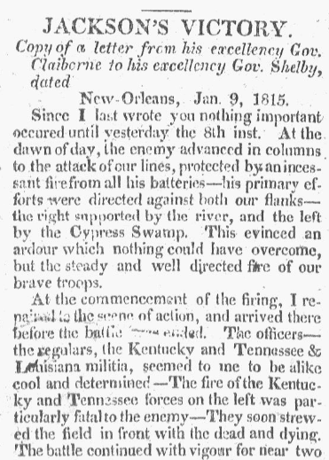 An article about the Battle of New Orleans, Weekly Recorder newspaper article 2 February 1815