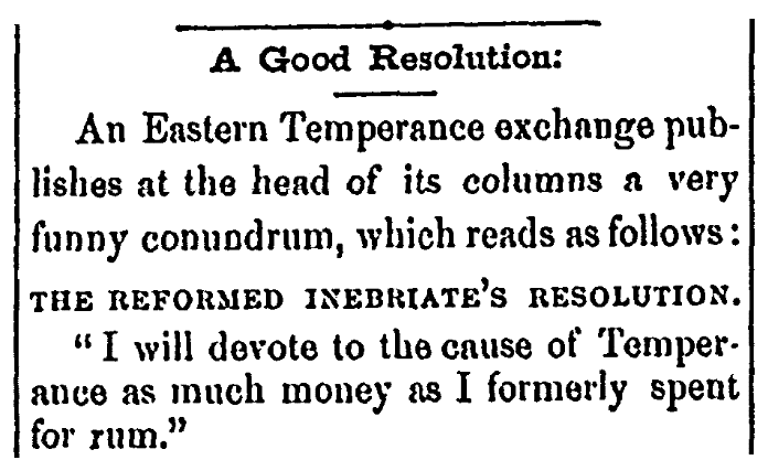 An article about a temperance resolution, Weekly Rescue newspaper article 5 September 1868