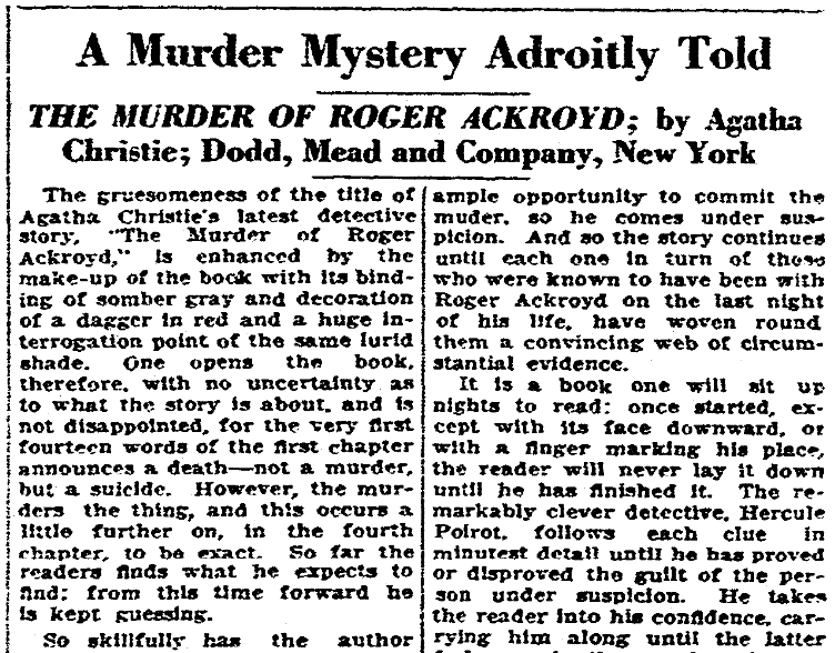 An article about Agatha Christie, Winston-Salem Journal newspaper article 21 August 1926