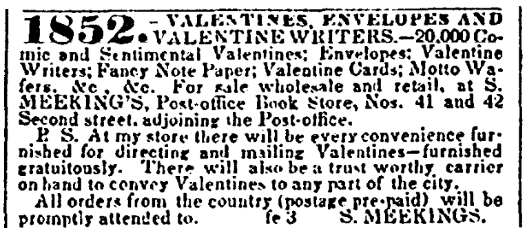 An ad for Valentine's Day cards, American and Commercial Daily Advertiser newspaper advertisement 3 February 1852