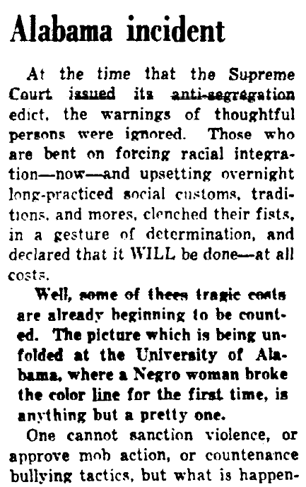 An article about Autherine Lucy, Augusta Chronicle newspaper article 7 February 1956