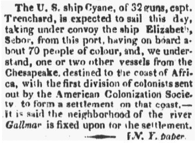 An article about the American Colonization Society, Boston Commercial Gazette newspaper article 7 February 1820