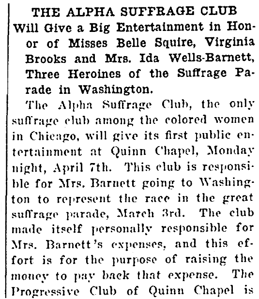 An article about the Alpha Suffrage Club, Broad Ax newspaper article 29 March 1913