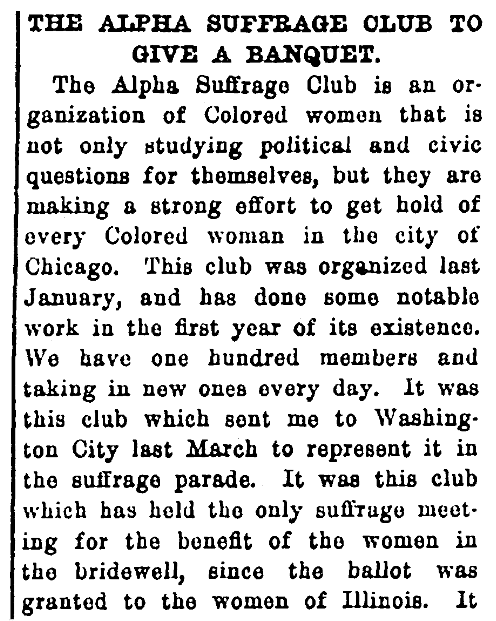 An article about the Alpha Suffrage Club, Broad Ax newspaper article 15 November 1913