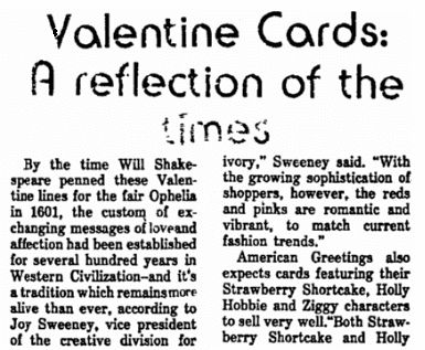 An article about Valentine's Day cards, Chicago Metro News newspaper article 13 February 1982