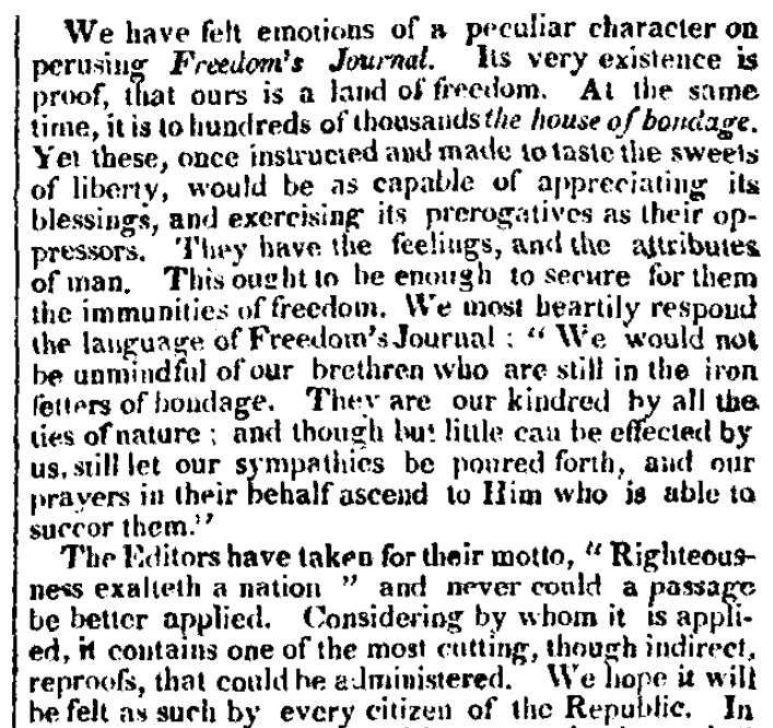 """An article about the newspaper """"Freedom's Journal,"""" Christian Mirror newspaper article 23 March 1827"""