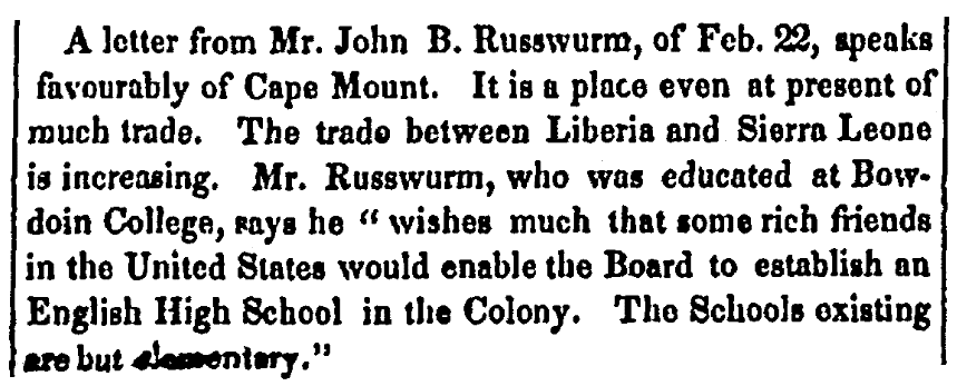 An article about John Russwurm, Christian Watchman newspaper article 25 May 1832
