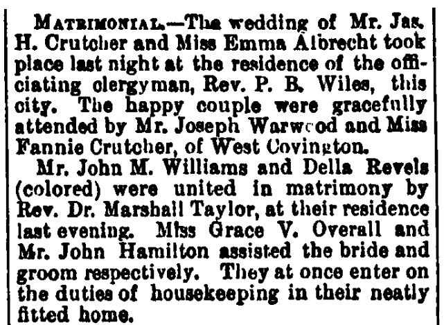 Wedding notices, Cincinnati Daily Star newspaper article 1 January 1880