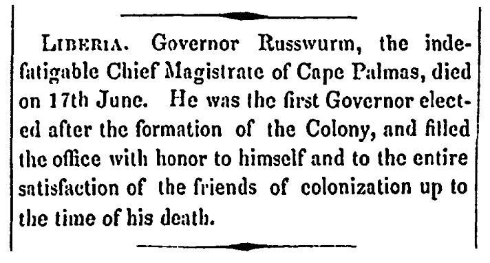 An obituary for John Brown Russwurm, Congregational Journal newspaper article 29 October 1851