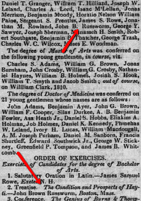 An article about John Russwurm, Eastern Argus newspaper article 12 September 1826