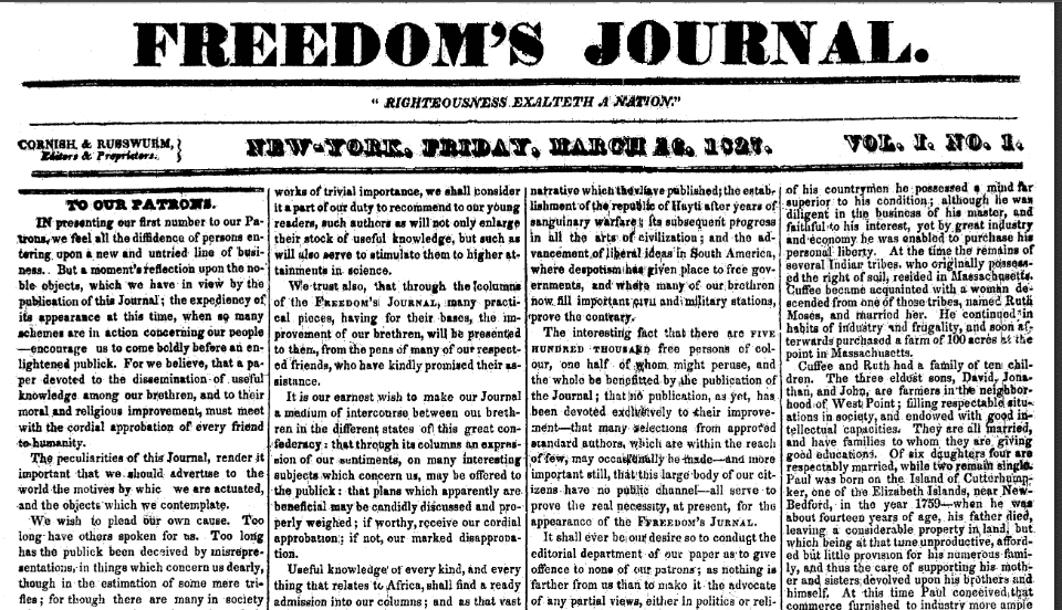 Freedom's Journal (New York, New York), 16 March 1827, page 1
