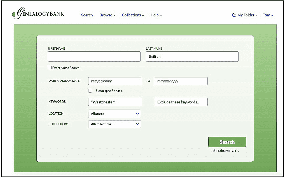 A screenshot of GenealogyBank's search page showing a search for Sniffen and Westchester