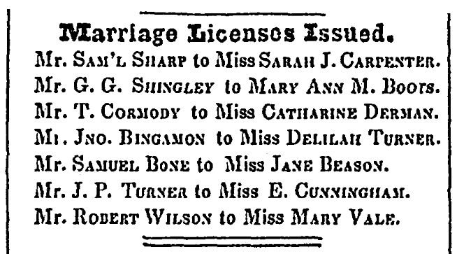 Notices about marriage licenses, Greene County Torch-Light newspaper article 16 August 1849