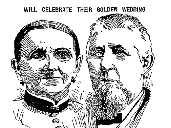 Illustration: a drawing of Mr. and Mrs. Moormann for an article about their 50th weddng anniversary