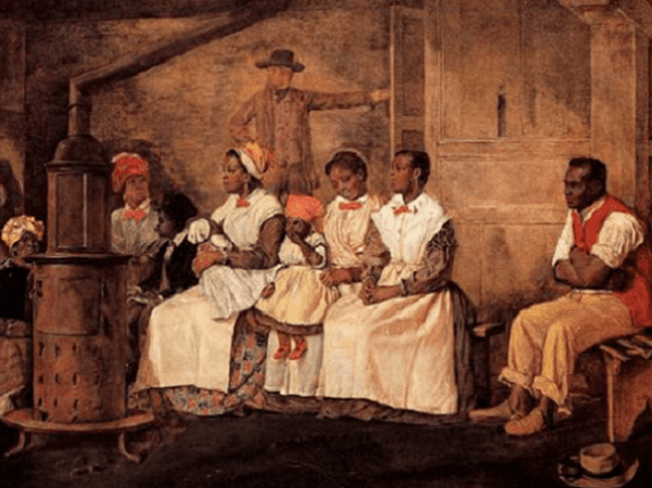 """Illustration: """"Slaves Waiting for Sale, Richmond, Virginia"""" painted upon the sketch of 1853 by Eyre Crowe, 1861. Credit: Wikimedia Commons."""