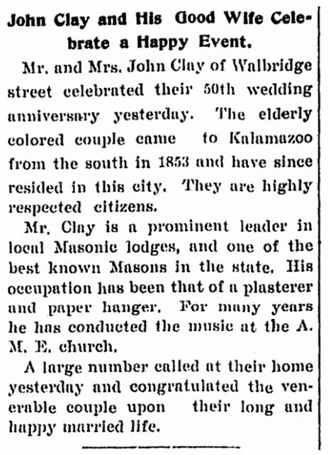 Clay wedding anniversary notice, Kalamazoo Gazette newspaper article 21 January 1900