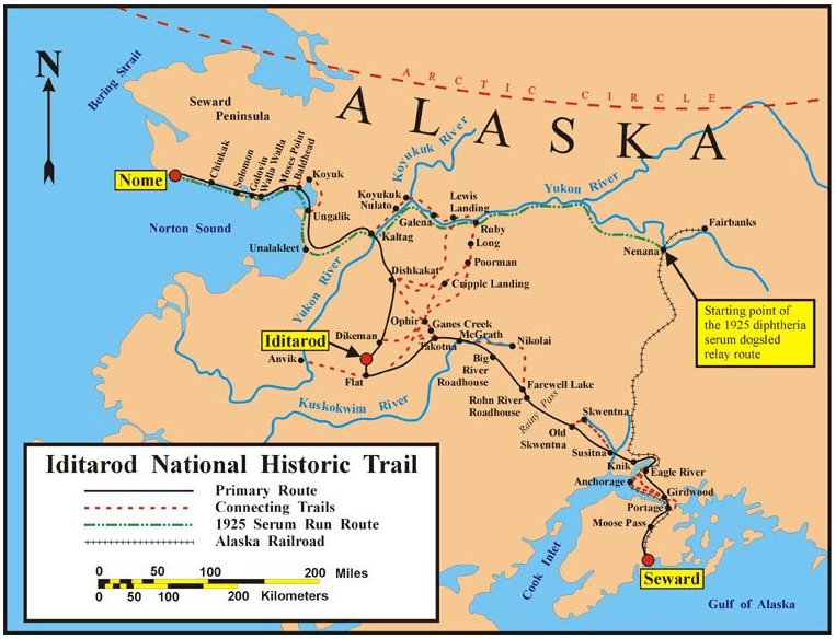 Map: the historical Iditarod Trail and the current Iditarod National Historic Trail in Alaska, also showing the route of the 1925 diphtheria serum dogsled relay
