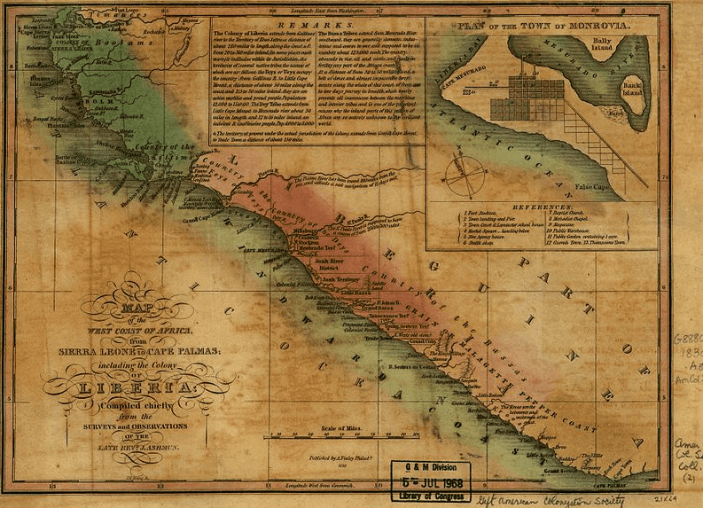 Map: Liberia and the West African Coast, c. 1830