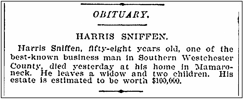 An obituary for Harris Sniffen, New York Tribune newspaper article 21 June 1894