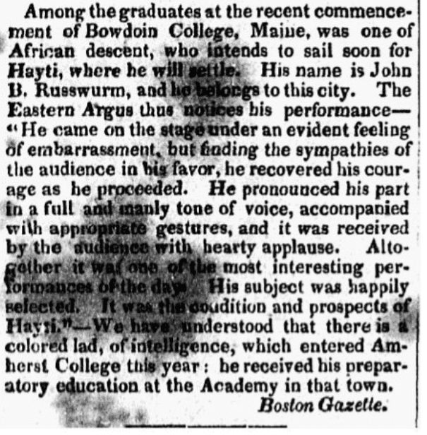 An article about John Russwurm, Norwich Courier newspaper article 27 September 1826