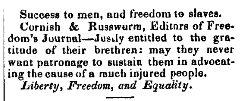 """An article about the newspaper """"Freedom's Journal,"""" Old Hampshire Post newspaper article 17 July 1827"""