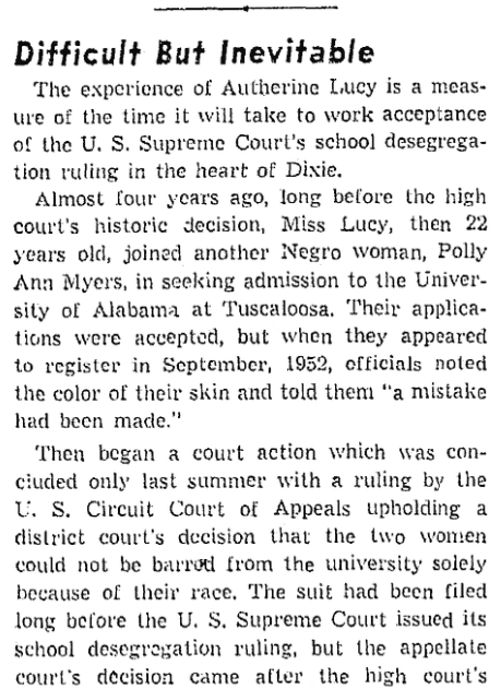 An article about Autherine Lucy, Oregonian newspaper article 8 February 1956