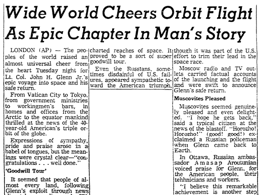 An article about John Glenn's historic space flight on 20 February 1962, Oregonian newspaper article 21 February 1962