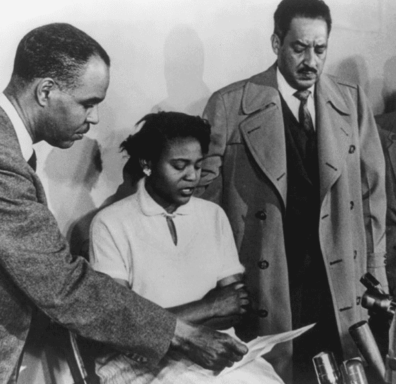 Photo: Autherine Lucy in a press conference with Roy Wilkins, Executive Director of the National Association for the Advancement of Colored People (NAACP), and Thurgood Marshall, Director and Special Counsel for the NAACP Legal Defense and Education Fund, 2 March 1956