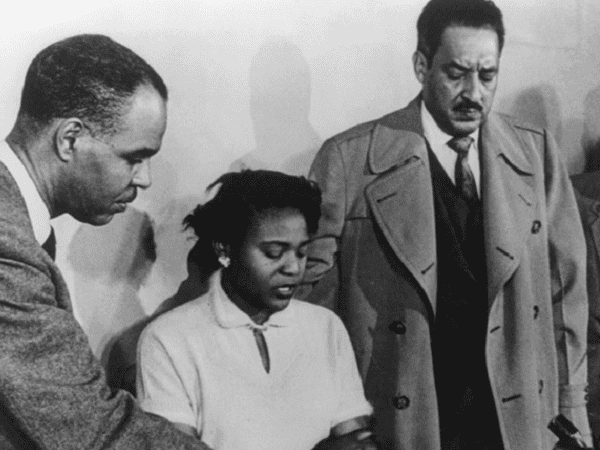 Photo: Autherine Lucy in a press conference with Roy Wilkins, Executive Director of the National Association for the Advancement of Colored People (NAACP), and Thurgood Marshall, Director and Special Counsel for the NAACP Legal Defense and Education Fund, 2 March 1956. Credit: Library of Congress, Prints and Photographs Division.