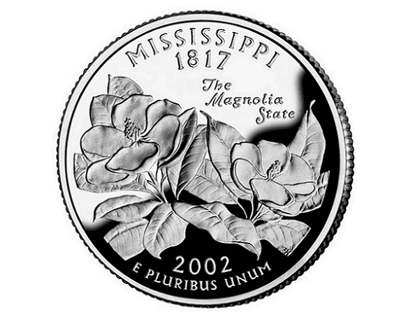 Photo: Mississippi state quarter. Credit: Wikimedia Commons.