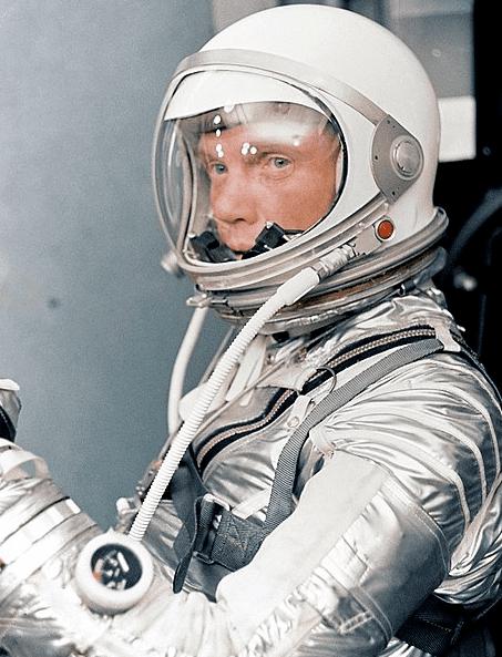 Photo: astronaut John Glenn dons his silver Mercury pressure suit in preparation for launch of Mercury Atlas 6 (MA-6) rocket