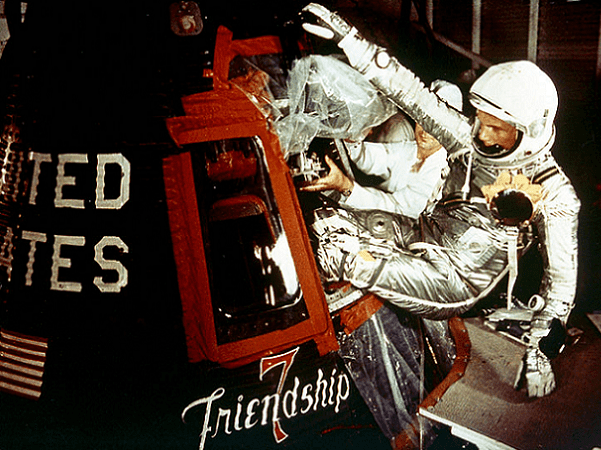 Photo: astronaut John Glenn enters the Mercury spacecraft, Friendship 7, prior to the launch of MA-6 on 20 February 1962, and became the first American who orbited the Earth. Credit: NASA; Wikimedia Commons.