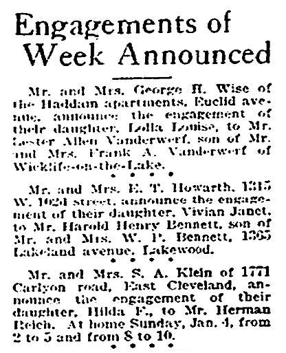 Engagement notices, Plain Dealer newspaper articles 4 January 1920