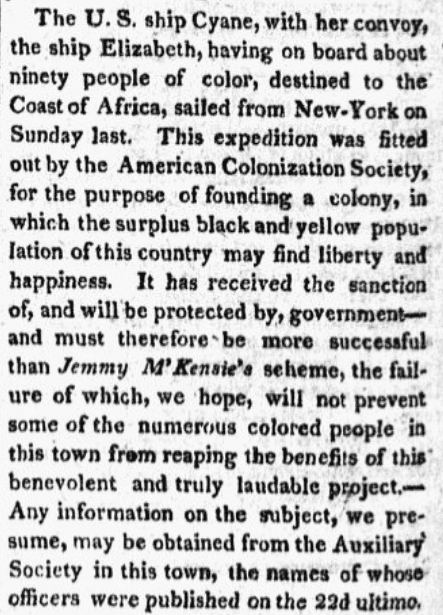 An article about the American Colonization Society, Providence Patriot newspaper article 12 February 1820